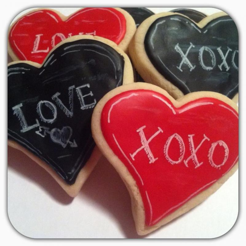 chalkboard love heart cookie favor wedding