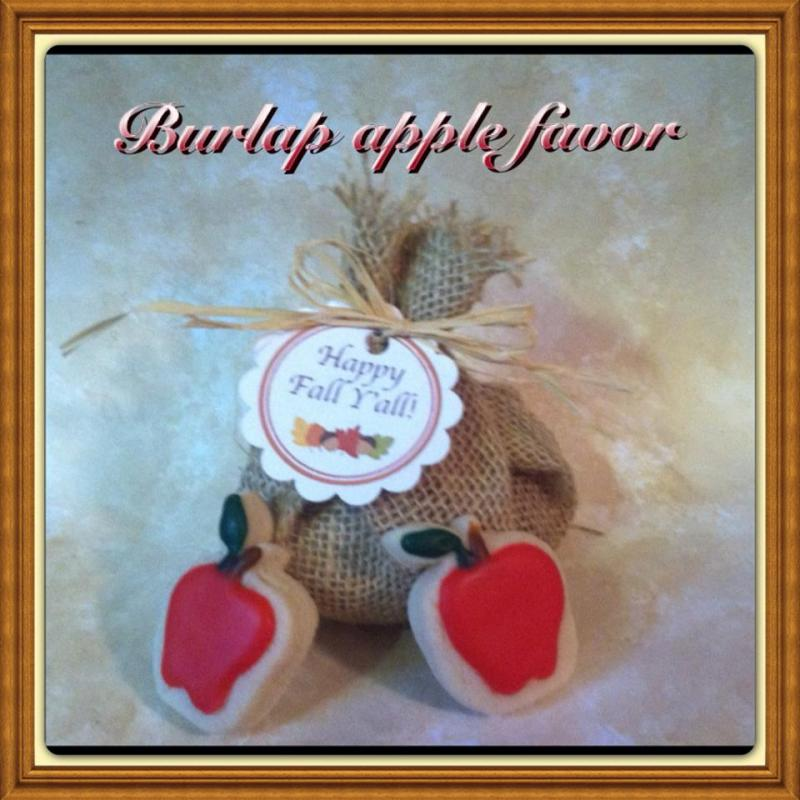 burlap apple cookie favor