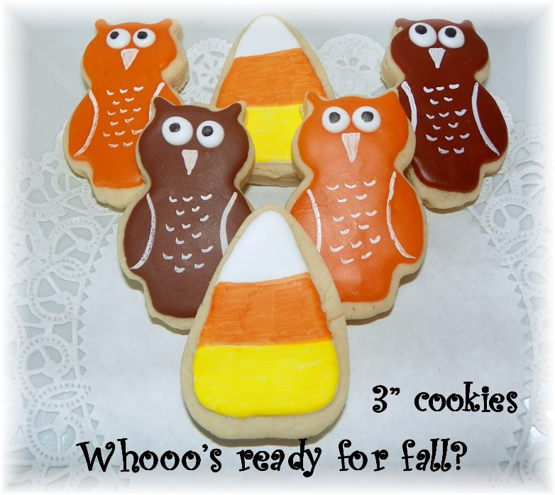 fall owl corn cookie favor