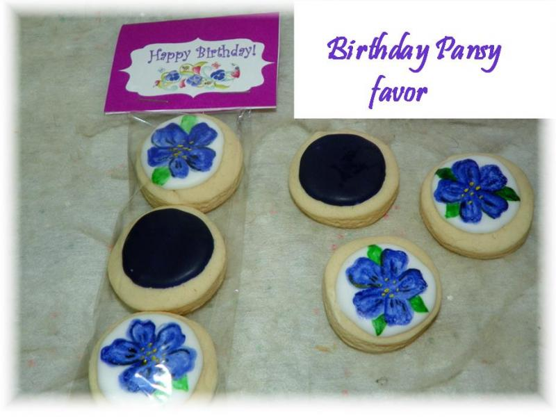 pansy spring cookie favor
