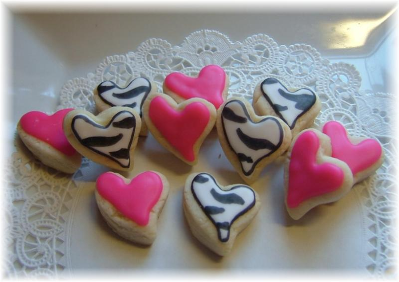 valentine zebra heart cookie