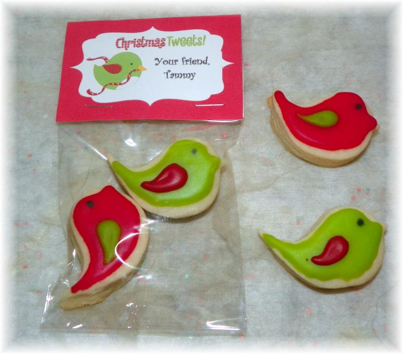 Christmas Birdie Cookie favor