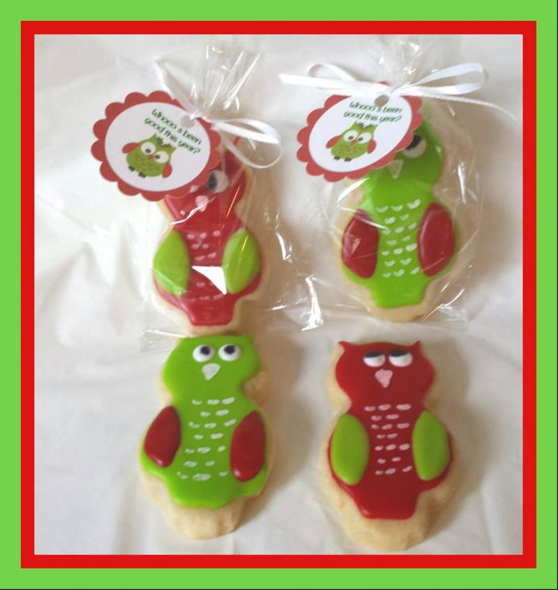 christmas owl cookie favor