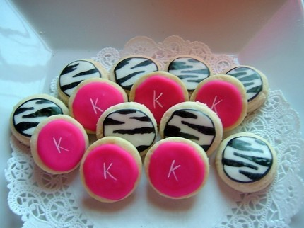 zebra hot pink cookie