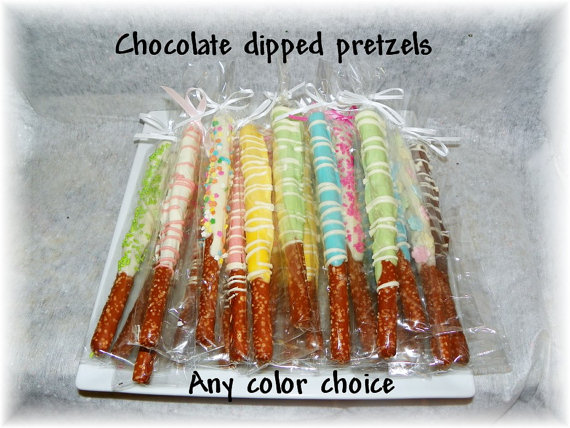 chocolate dipped pretzel favor