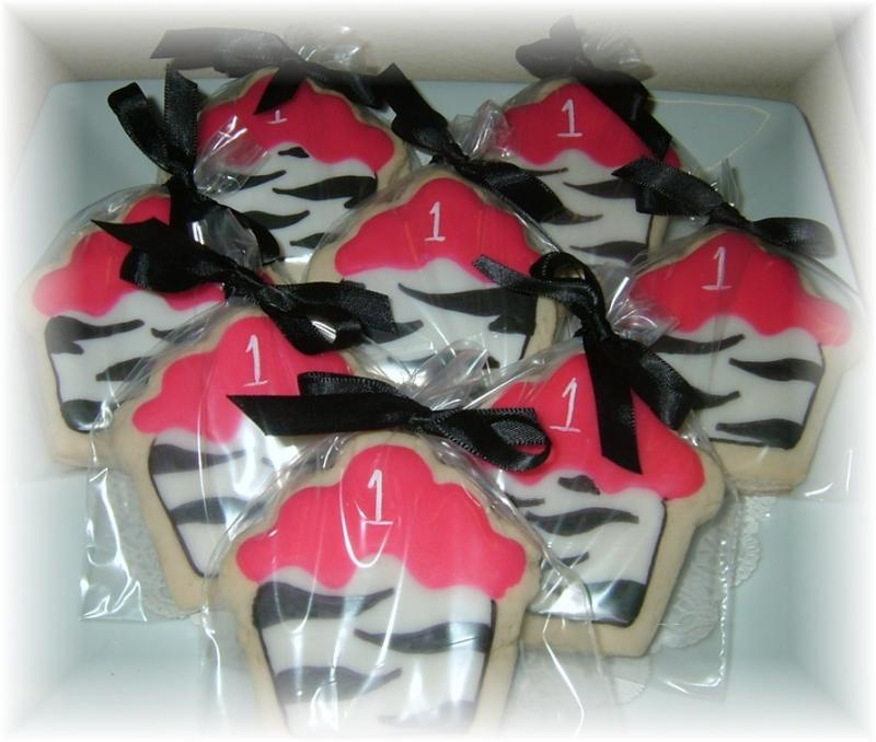 zebra birthday cupcake